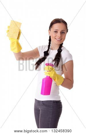 Young woman with spray bottle and sponge on a  white background.  Housekeeping.