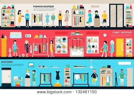 Shopping Center and Boutique Rooms flat shop interior concept web. Fashion Clothes Customers Mall Retail Purchase. Vector Illustration