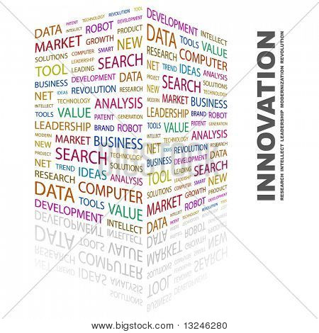 INNOVATION. Word collage on white background. Illustration with different association terms.