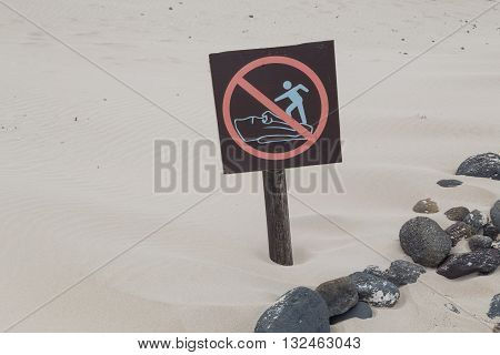 Sign on Easter Island, prohibited to climb statues