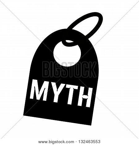 MYTH white wording on background black key chain