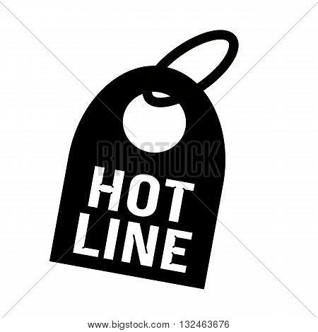 HOT LINE white wording on background black key chain
