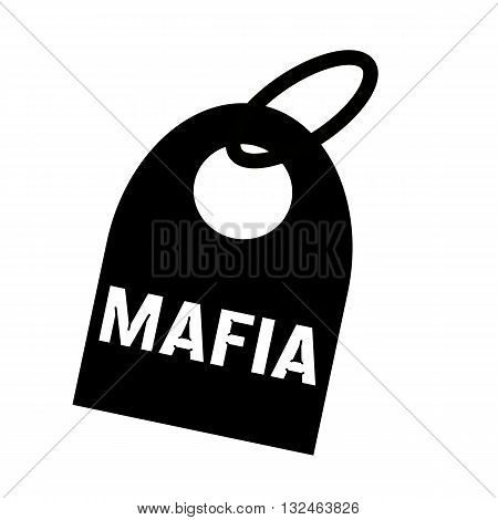 Mafia white wording on background black key chain
