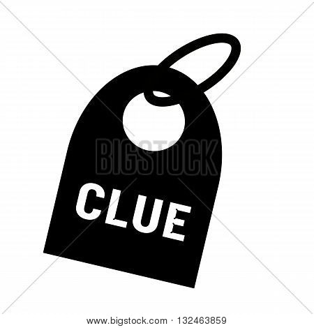 Clue white wording on background black key chain
