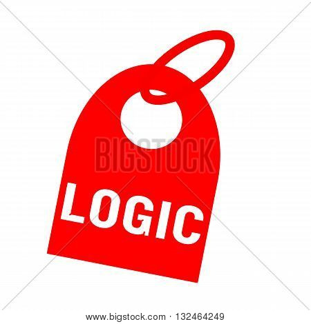 Logic white wording on background red key chain