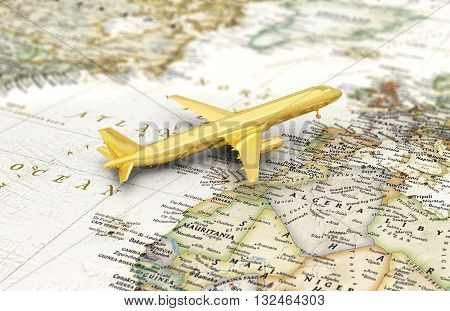 Сoncept of flight journey. Golden aircraft on the world map. 3d illustration