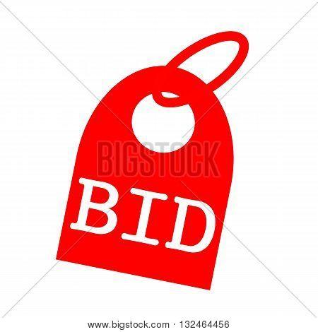 BID white wording on background red key chain