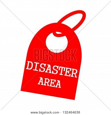 DISASTER AREA white wording on background red key chain