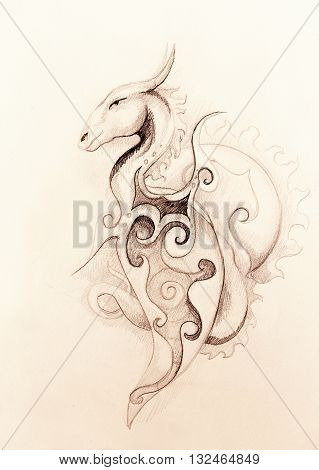 drawing of ornamental dragon and sun on old paper background