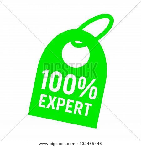 one hundred percent expert white wording on background red key chain