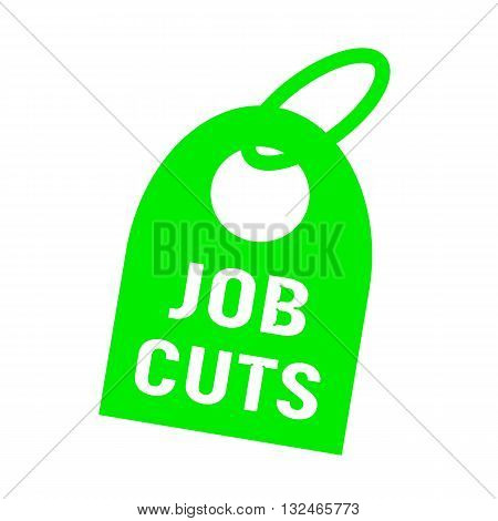 job cuts white wording on background green key chain