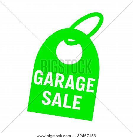 garage sale white wording on background green key chain