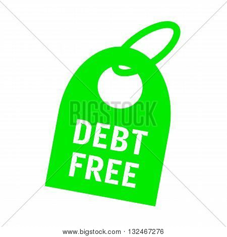debt free white wording on background red key chain