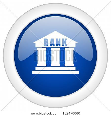 bank icon, circle blue glossy internet button, web and mobile app illustration