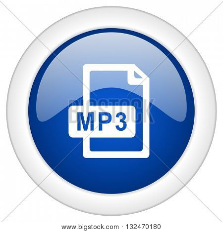 mp3 file icon, circle blue glossy internet button, web and mobile app illustration