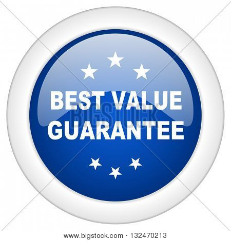best value guarantee icon, circle blue glossy internet button, web and mobile app illustration