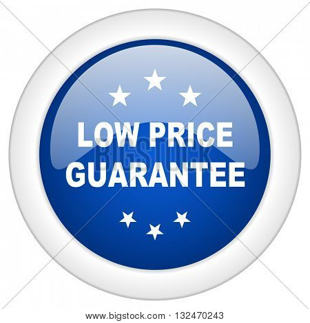 low price guarantee icon, circle blue glossy internet button, web and mobile app illustration
