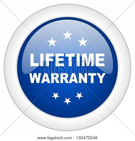 lifetime warranty icon, circle blue glossy internet button, web and mobile app illustration