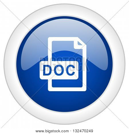 doc file icon, circle blue glossy internet button, web and mobile app illustration