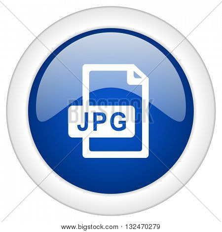 jpg file icon, circle blue glossy internet button, web and mobile app illustration