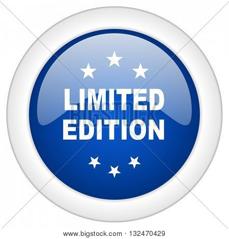 limited edition icon, circle blue glossy internet button, web and mobile app illustration