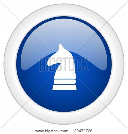 chess horse icon, circle blue glossy internet button, web and mobile app illustration