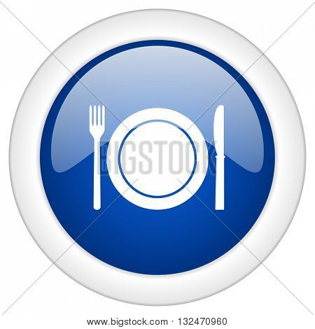 restaurant icon, circle blue glossy internet button, web and mobile app illustration