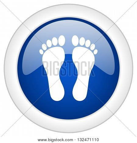 foot icon, circle blue glossy internet button, web and mobile app illustration