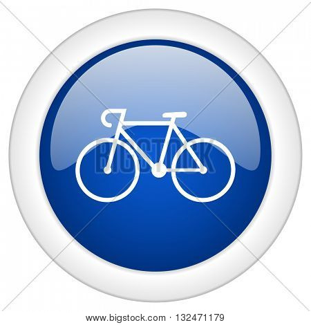 bicycle icon, circle blue glossy internet button, web and mobile app illustration