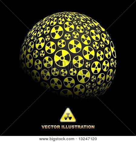 Radioactive globe. Vector illustation.