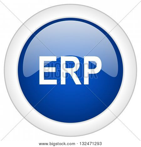 erp icon, circle blue glossy internet button, web and mobile app illustration