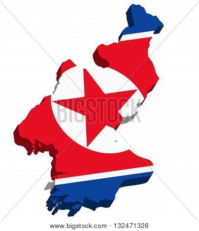 A map of North Korea 3D on white background