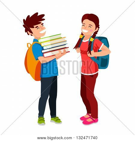 Laughing boy and a girl. Students with backpacks and book. The concept of school education. Vector illustration on white background. Back to school.