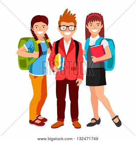 Boy and two girls. Students with backpacks and book. The concept of school education. Vector illustration on white background. Back to school.