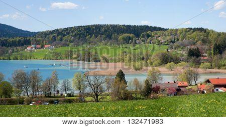 View To Idyllic Lake Tegernsee At Springtime