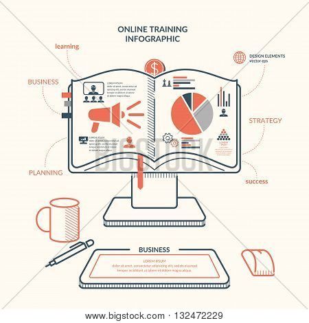 Vector illustration online training revenue and success. With the computer as the book and icons for Business infographic. For website design infographics poster presentations and advertising.