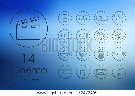 cinema modern icons for mobile interface on blurred background