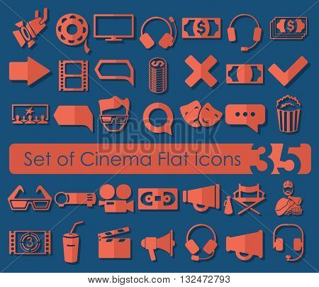 It is a illustration Set of cinema icons