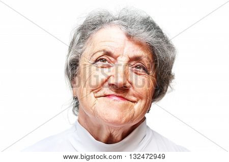 Old woman smile face on white. Grandmother