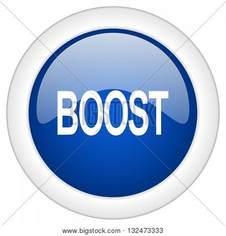 boost icon, circle blue glossy internet button, web and mobile app illustration