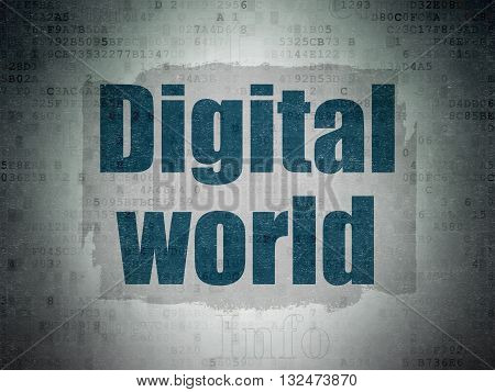 Information concept: Painted blue text Digital World on Digital Data Paper background with   Tag Cloud