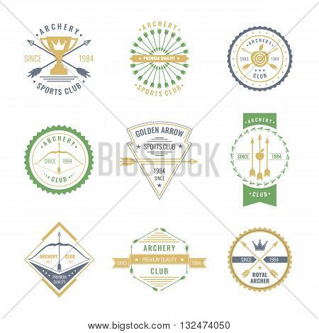A set of colored logos labels and elements for the club of archery in linear style on white background. Suitable for design advertising posters.