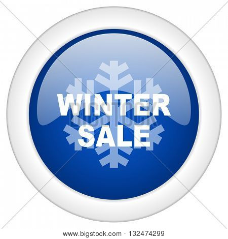 winter sale icon, circle blue glossy internet button, web and mobile app illustration