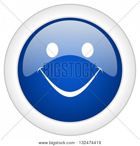smile icon, circle blue glossy internet button, web and mobile app illustration