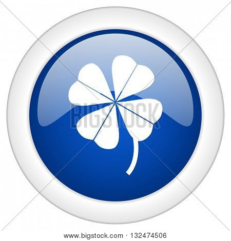 four-leaf clover icon, circle blue glossy internet button, web and mobile app illustration
