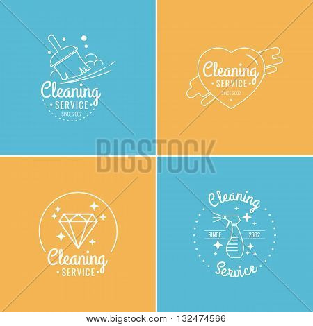 Collection of vector illustrations in flat linear style. Set of labels for cleaning home office. Logo and design elements. Elements for logo and design web sites brochures advertising