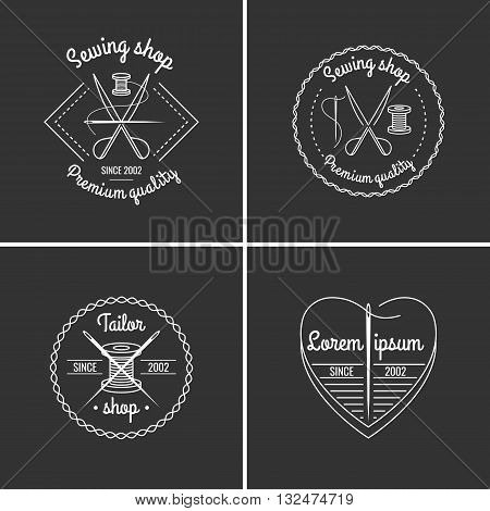 Set of sewing items tailor accessories in linear cartoon style on a Black background. Vector illustration for design of logos websitesleaflets flyers and advertising