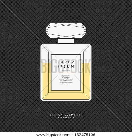 Vector illustration of a classic perfume Bottle shape on a dark background. Element for design cards poster.