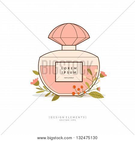 Vector illustration of a classic perfume Bottle shape with flowers on light background colour in the spring. Element for design cards poster.