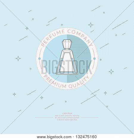 Vector illustration of the Logo of the perfume in a circle on a blue background. Elements and icons for maps illustrations
